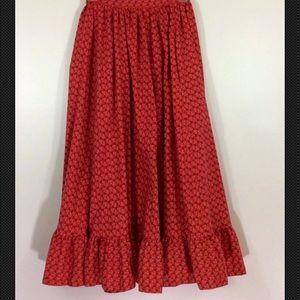 RALPH LAUREN Vintage 80s Western Skirt Red Calico